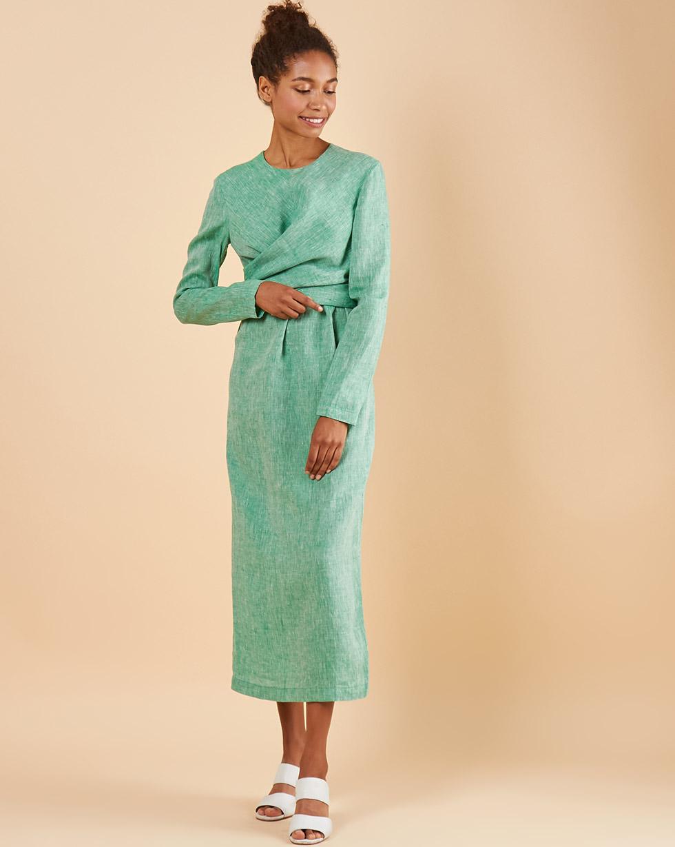 12Storeez Платье миди с завязками на талии изо льна (зеленый меланж) 12storeez платье комбинация миди изо льна молочный