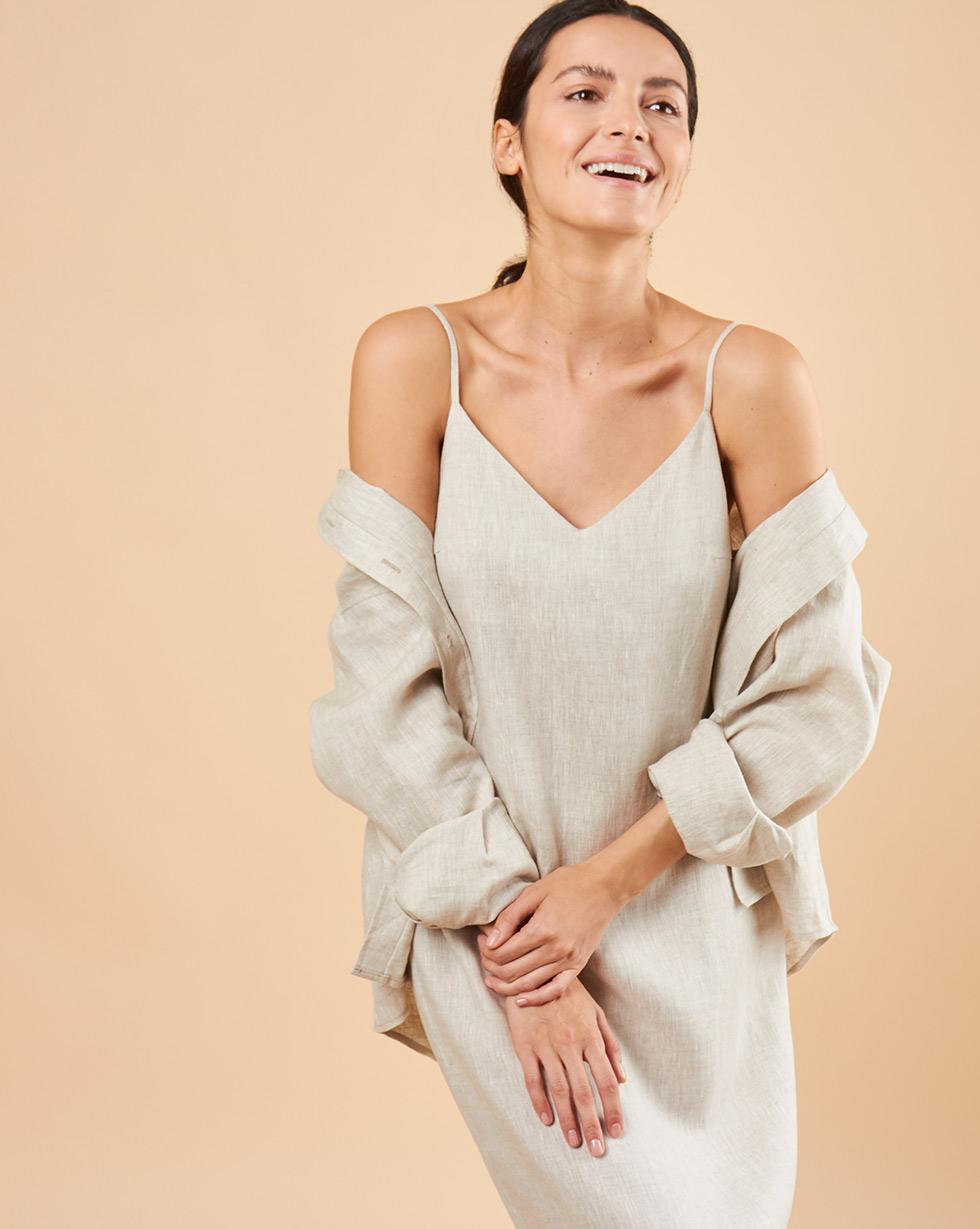 12Storeez Платье-комбинация миди изо льна (серо-бежевый) 12storeez платье миди на поясе с карманами серо голубой
