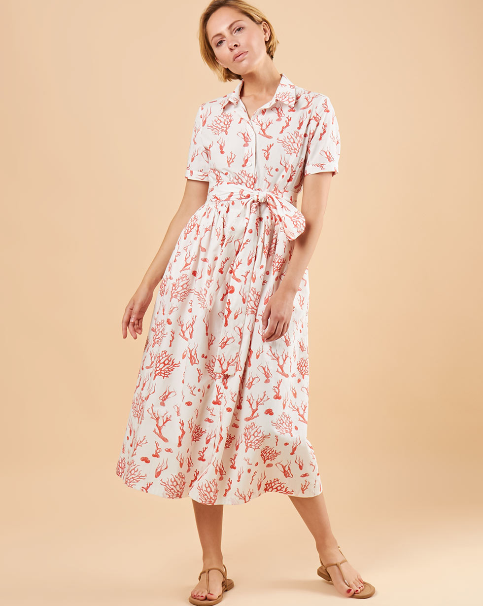 12Storeez Платье миди DR58/044 (Белый)