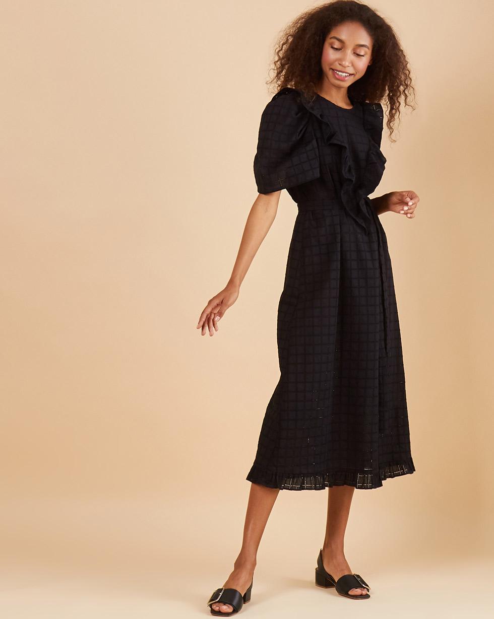 12Storeez Платье миди с объемными рукавами из шитья (черный)