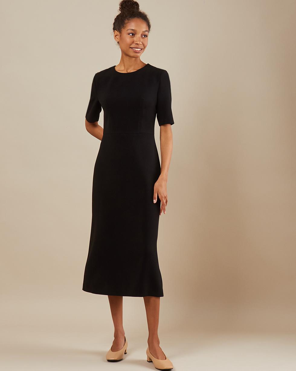 12Storeez Платье приталенное с коротким рукавом (Чёpный) двухслойное платье с коротким рукавом european culture двухслойное платье с коротким рукавом