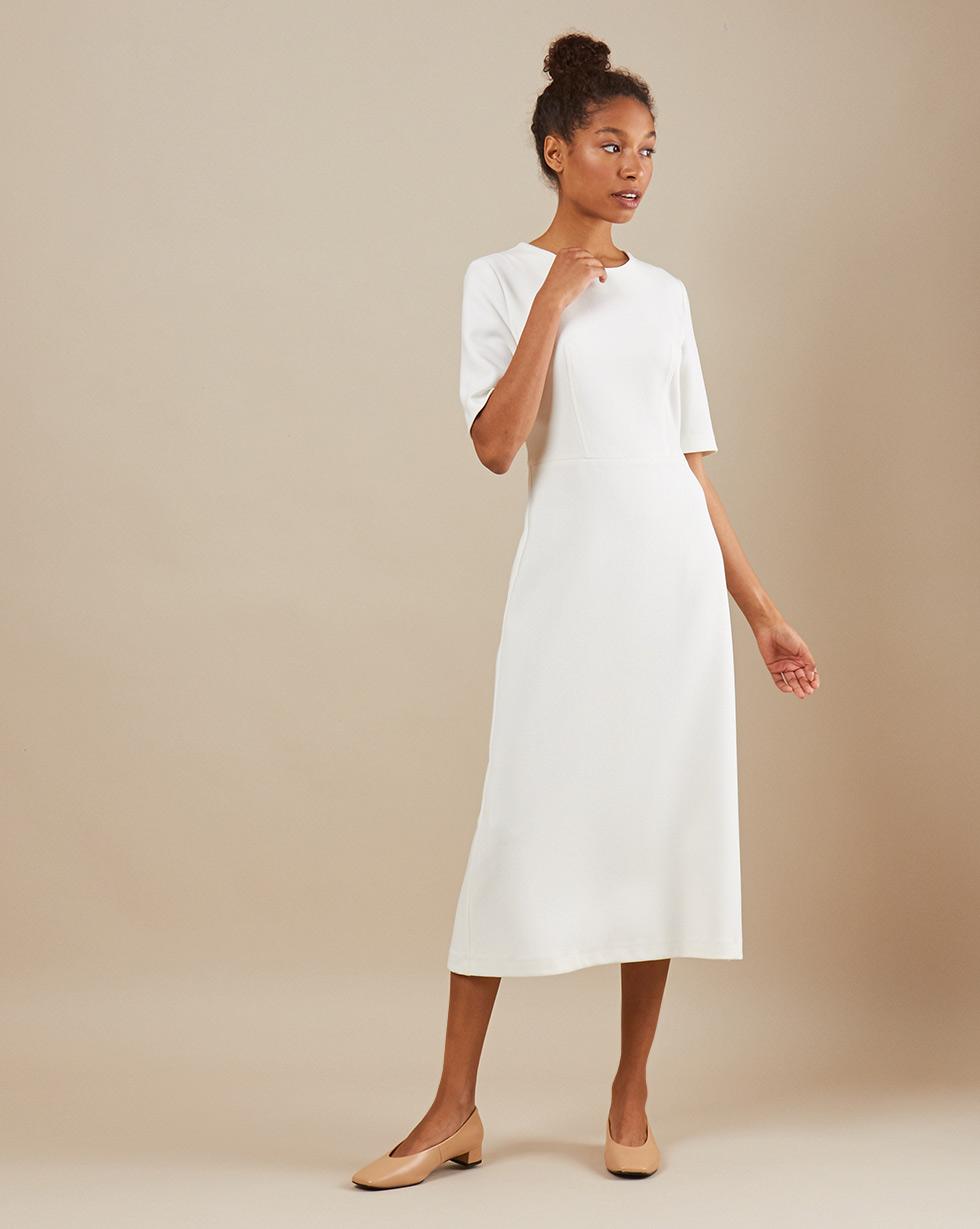 12Storeez Платье приталенное с коротким рукавом (белый) двухслойное платье с коротким рукавом european culture двухслойное платье с коротким рукавом