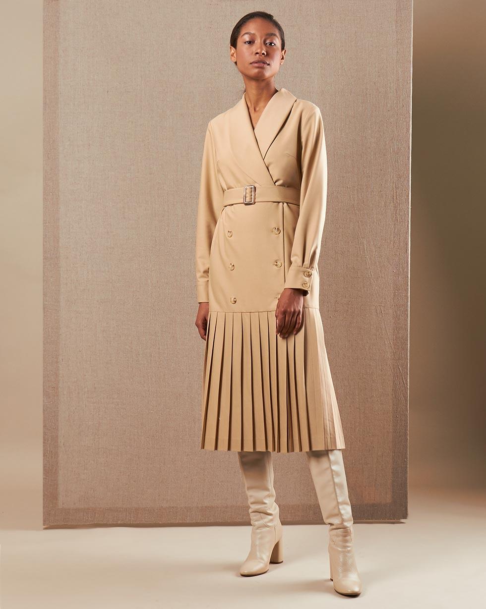 Фото - 12Storeez Платье двубортное с плиссированным низом (Бежевый) 12storeez платье двубортное с плиссированным низом айвори
