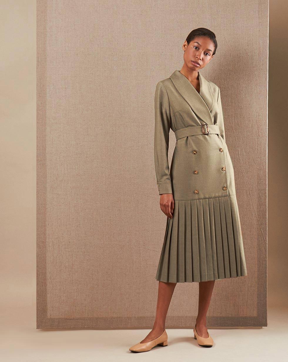 Фото - 12Storeez Платье двубортное с плиссированным низом (хаки) 12storeez платье двубортное с плиссированным низом айвори
