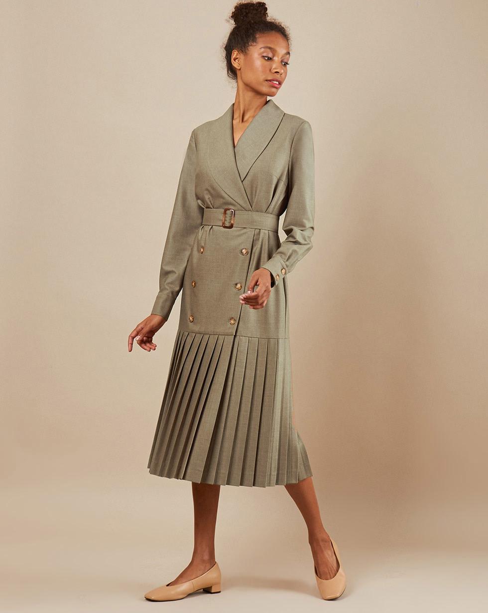 12Storeez Платье двубортное с плиссированным низом (хаки)