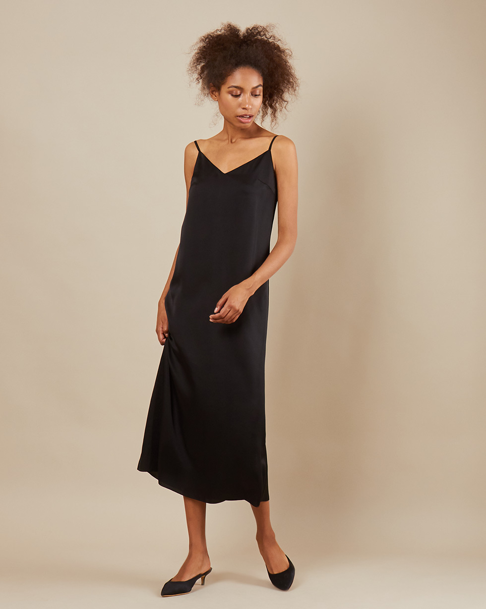 12Storeez Платье комбинация свободного кроя (чёрный)