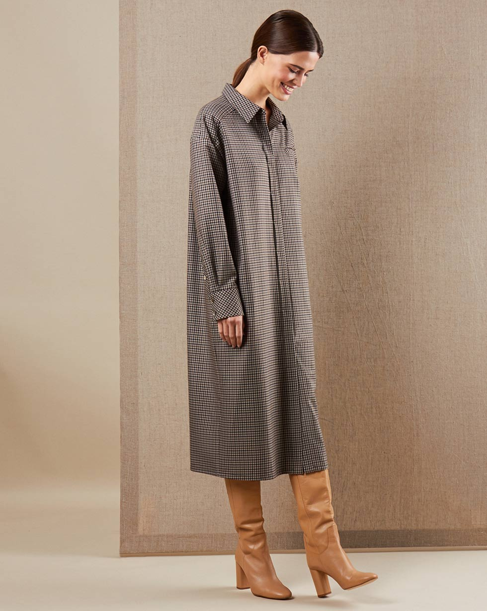 12Storeez Платье-рубашка (коричневая клетка)