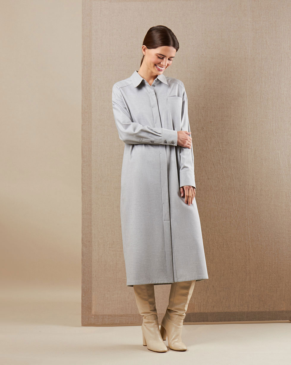 12Storeez Платье-рубашка (серый)