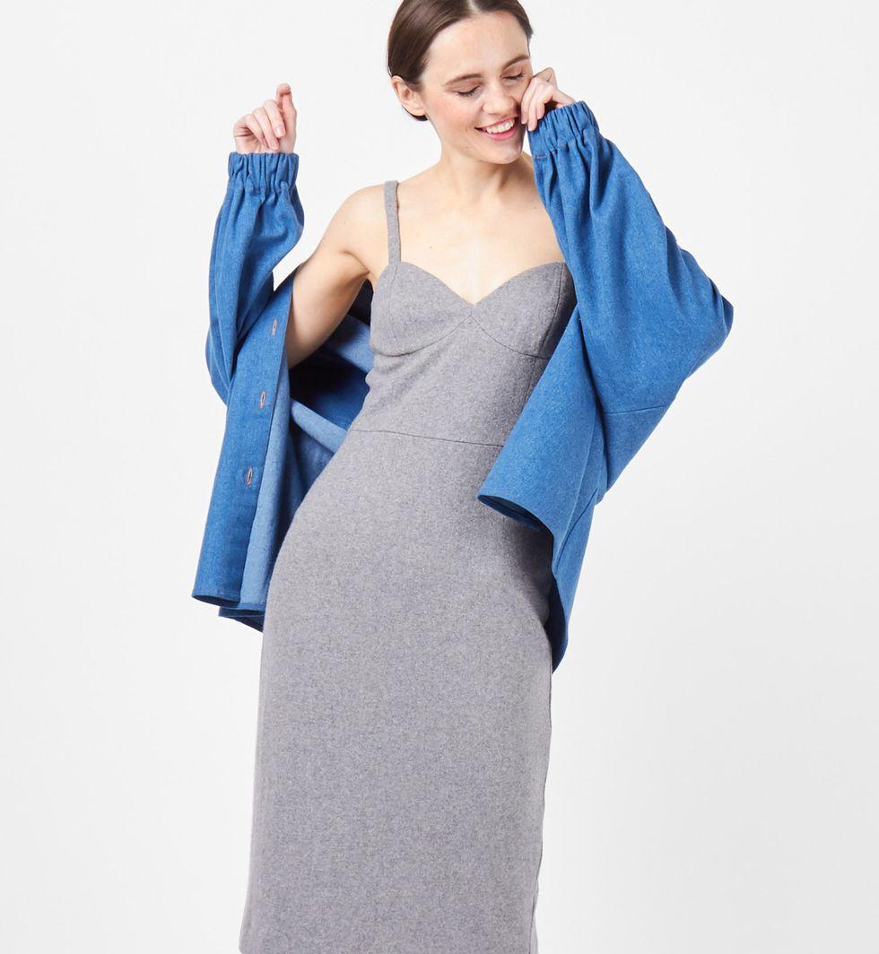 12Storeez Платье-комбинация на широких бретелях (серое)