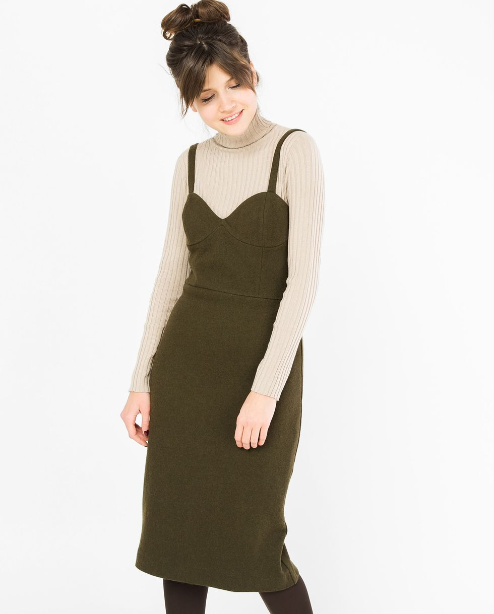 12Storeez Платье-комбинация на широких бретелях (хаки)