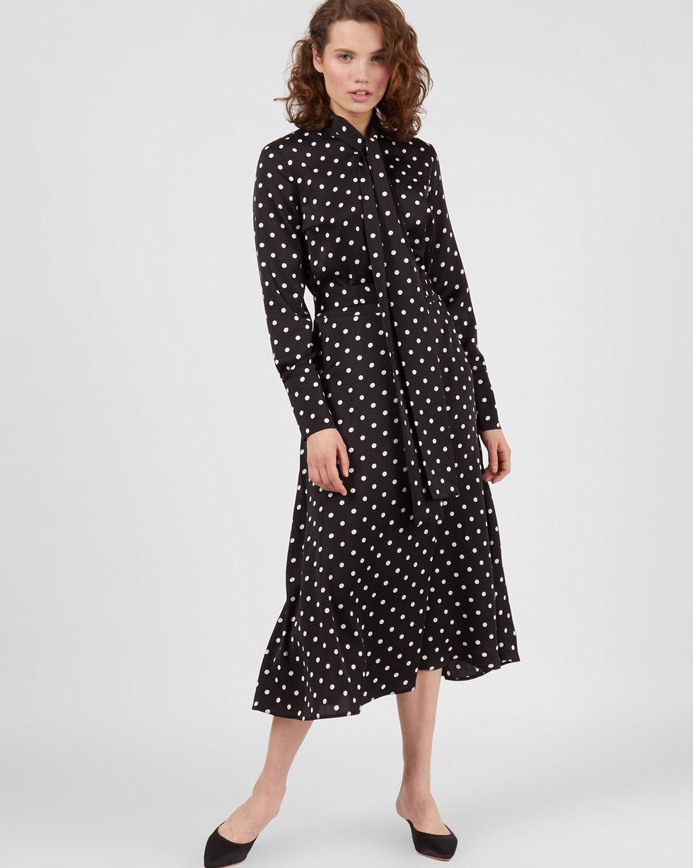 12Storeez Платье миди с бантом в горох (черное)
