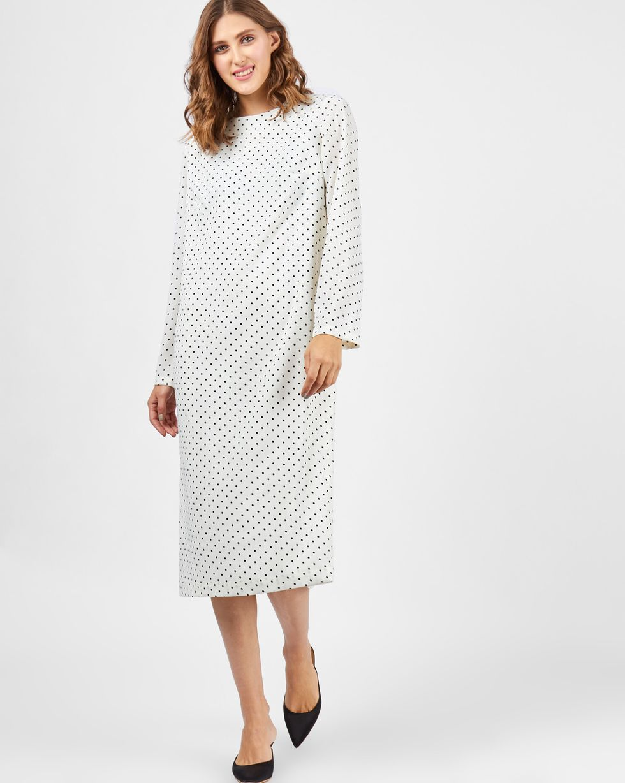 Платье миди в мелкий горошек XSПлатья<br><br><br>Артикул: 8295444<br>Размер: XS<br>Цвет: Молочный<br>Новинка: НЕТ<br>Наименование en: Polka dot midi dress