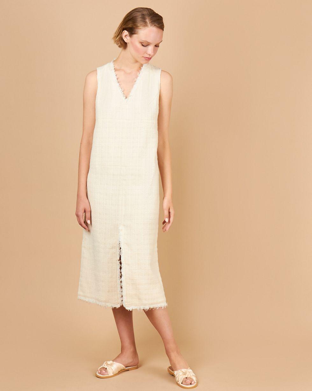 12Storeez Платье миди с разрезом спереди (молочное) 12storeez платье миди в мелкий горошек молочное