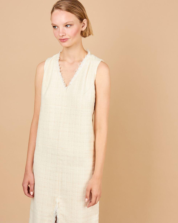 12Storeez Платье миди с разрезом спереди (молочное) цена и фото