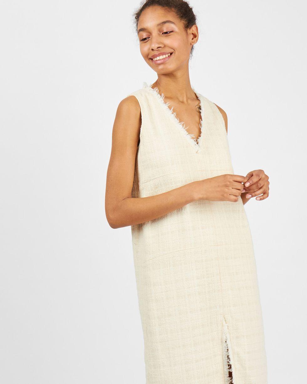 12Storeez Платье миди с разрезом спереди (молочное)
