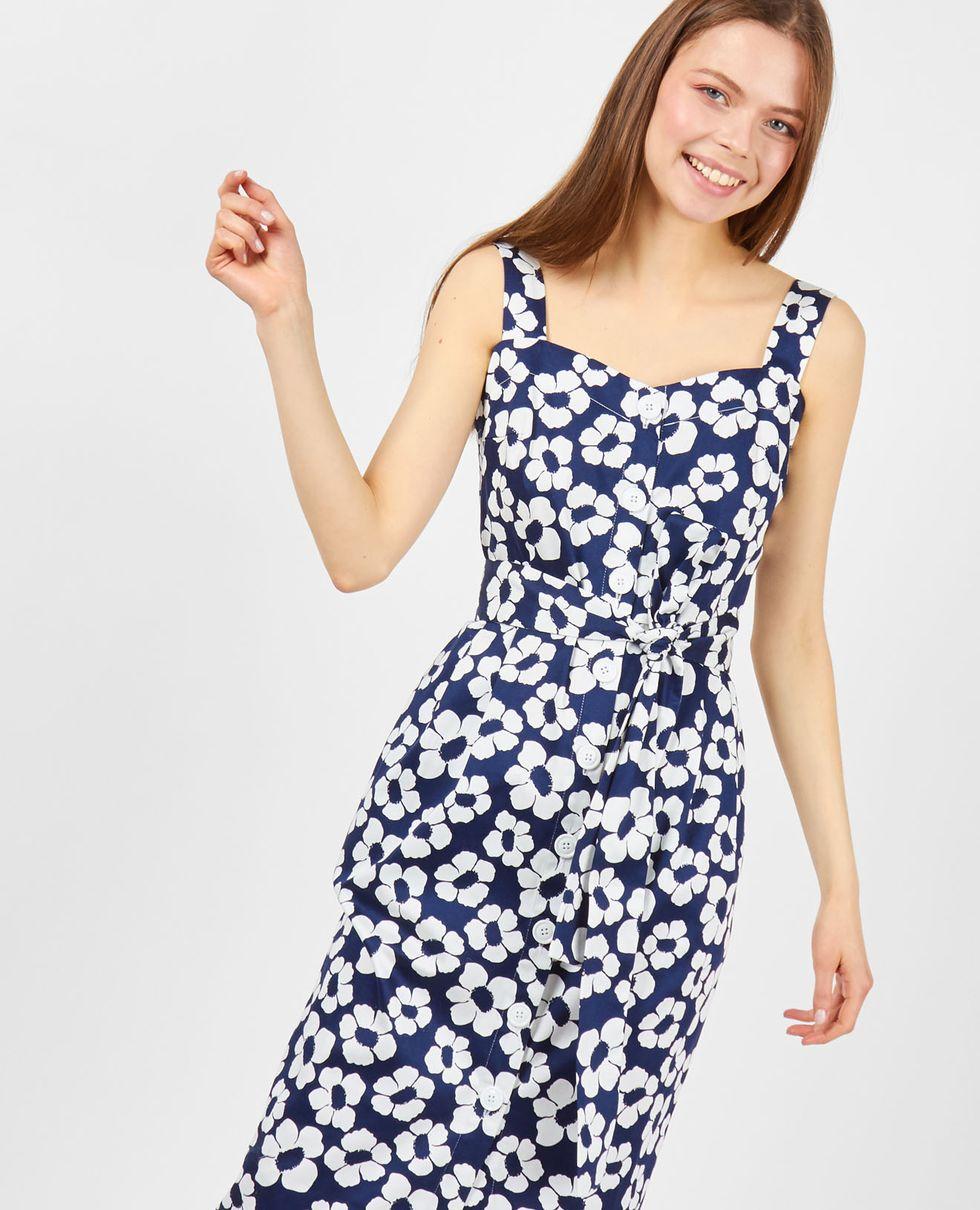 Сарафан на широких бретелях незабудка SПлатья<br><br><br>Артикул: 8295671<br>Размер: S<br>Цвет: Темно-синий<br>Новинка: НЕТ<br>Наименование en: Wide strap midi dress in Forget Me Not print