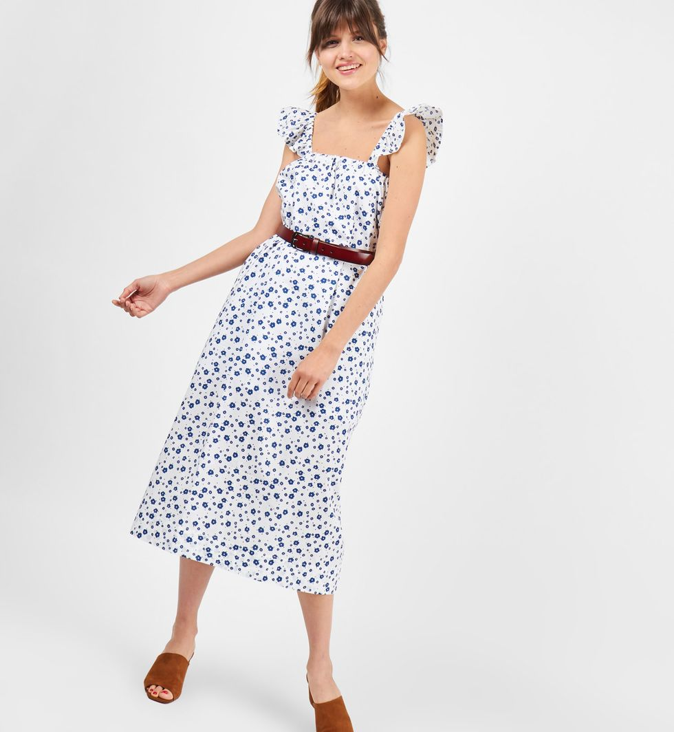 Платье-сарафан миди с бретелями крылышки в цветок One size