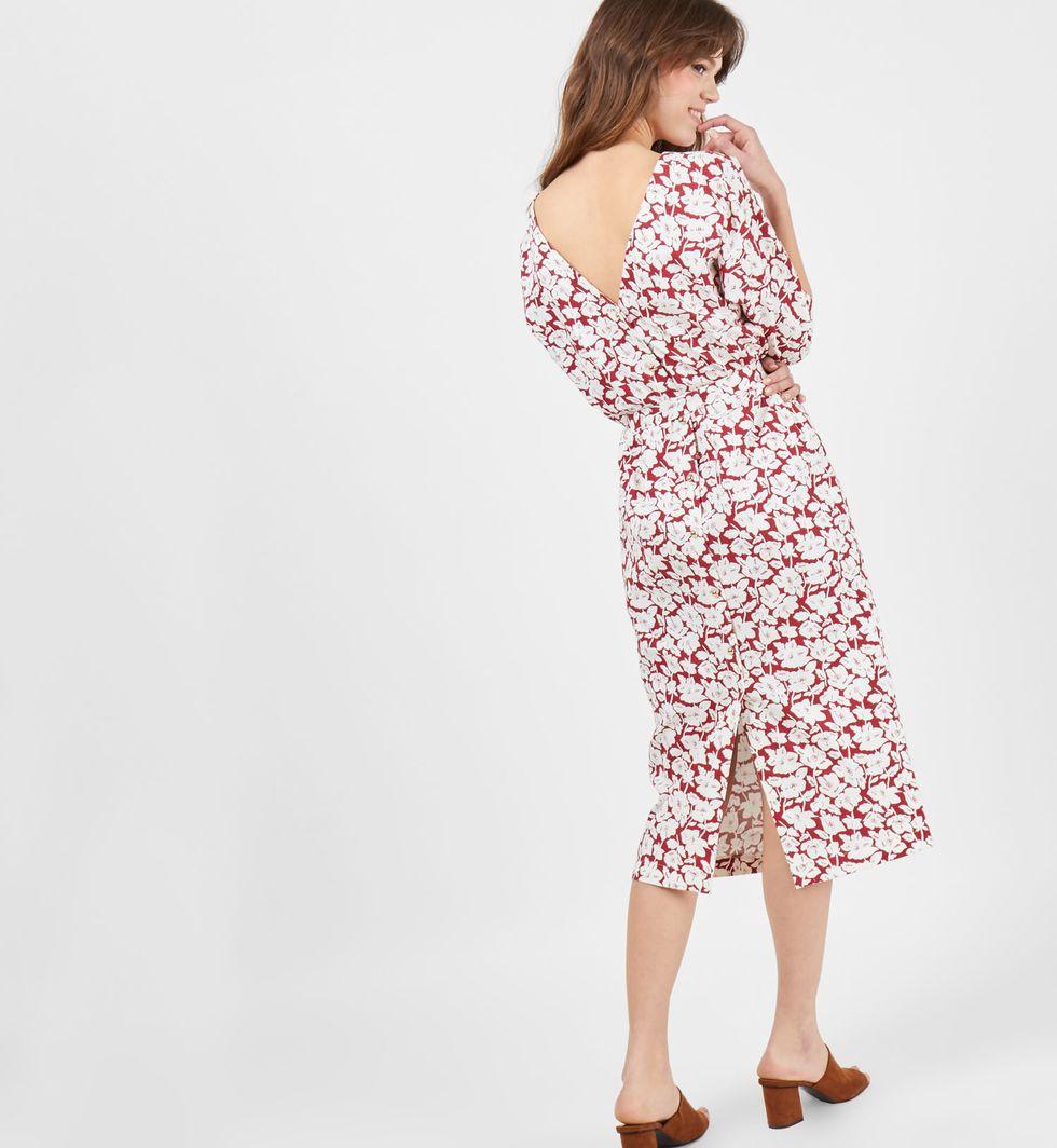 12Storeez Платье миди с вырезом  пуговицами сзади  цветок (бордовое)