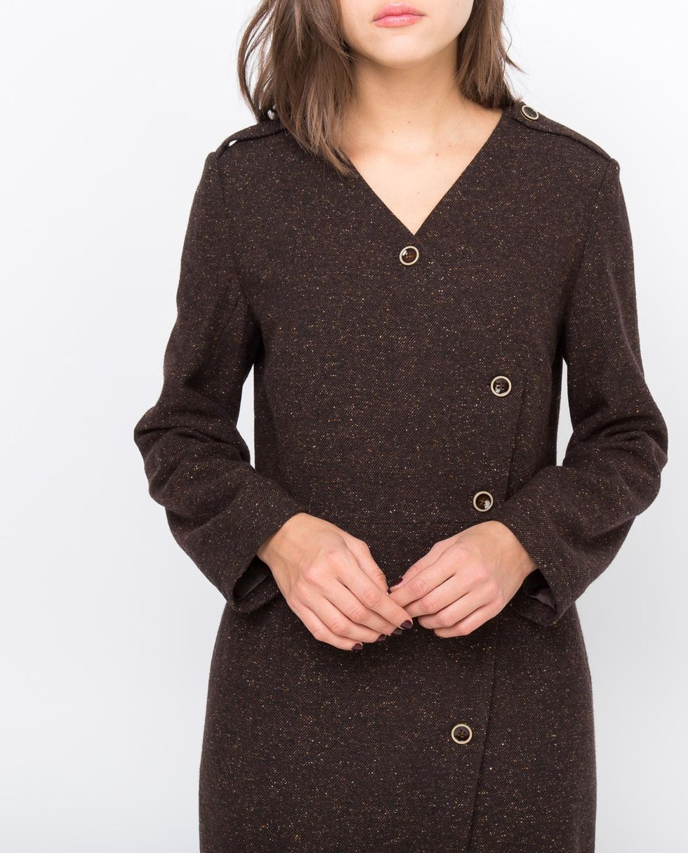 Платье миди двубортное XSПлатья<br><br><br>Артикул: 8296452<br>Размер: XS<br>Цвет: Коричневый меланж<br>Новинка: НЕТ<br>Наименование en: Double breasted midi dress