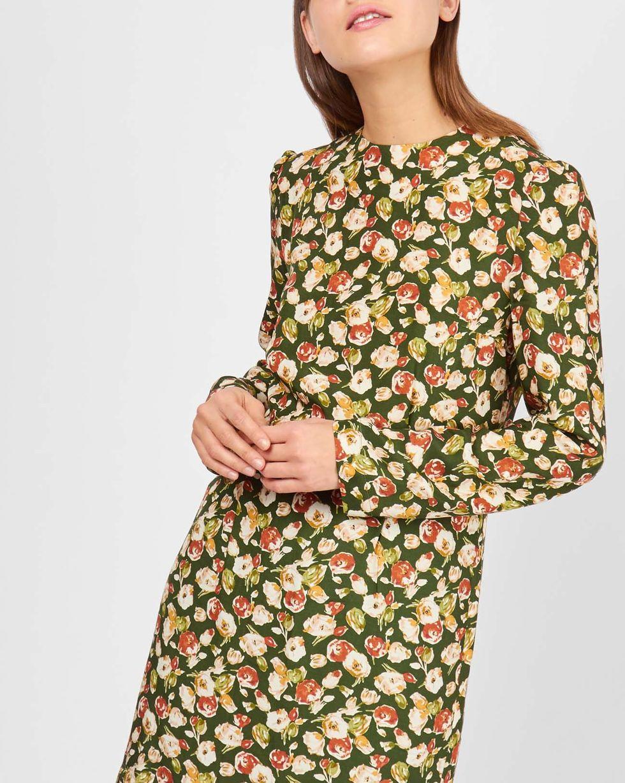 12Storeez Платье мини в цветок (зеленое)