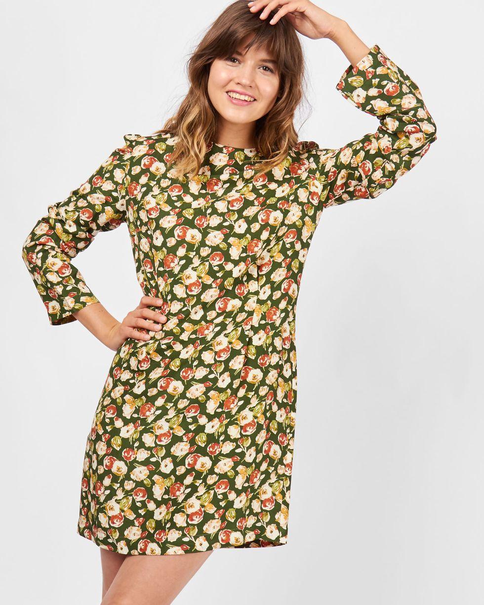 Платье мини в цветок MПлатья<br><br><br>Артикул: 8296517<br>Размер: M<br>Цвет: Зеленый<br>Новинка: НЕТ<br>Наименование en: Floral print mini dress