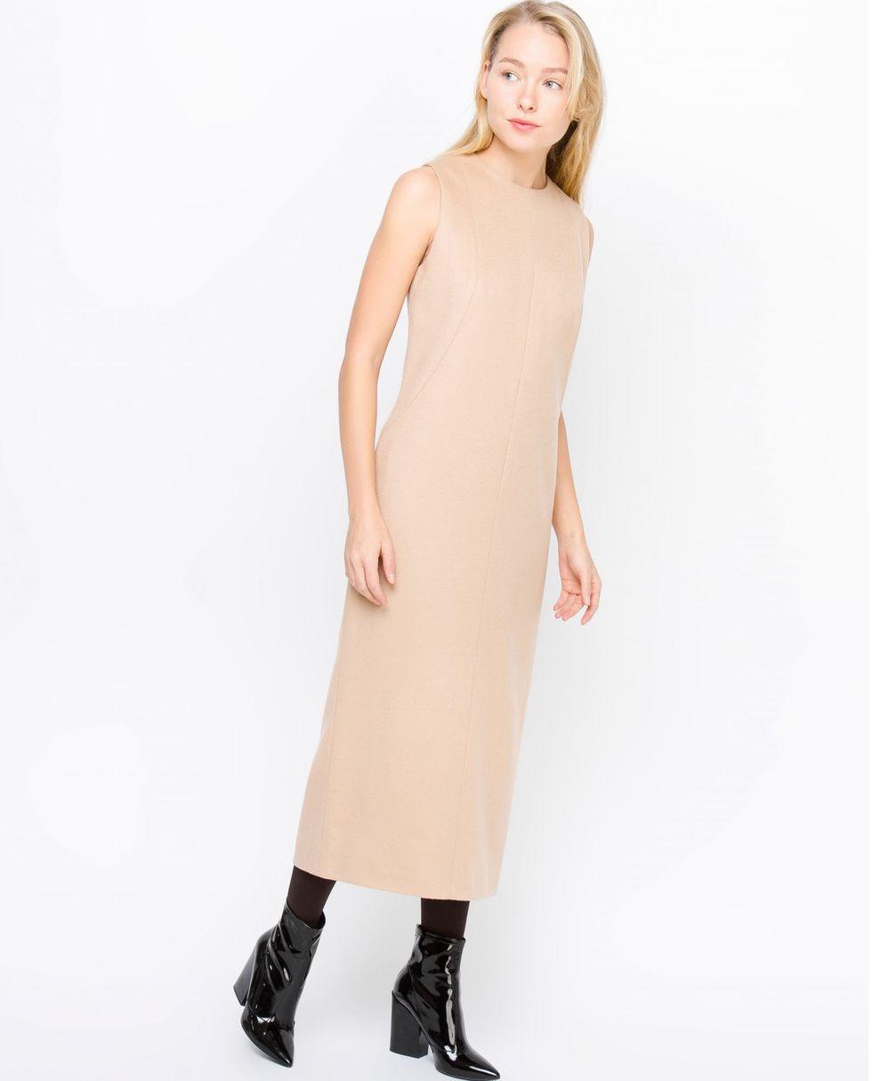 Платье миди без рукавов из кашемира МПлатья<br><br><br>Артикул: 8296751<br>Размер: M<br>Цвет: Светло-бежевый<br>Новинка: НЕТ<br>Наименование en: Sleeveless cashmere midi dress