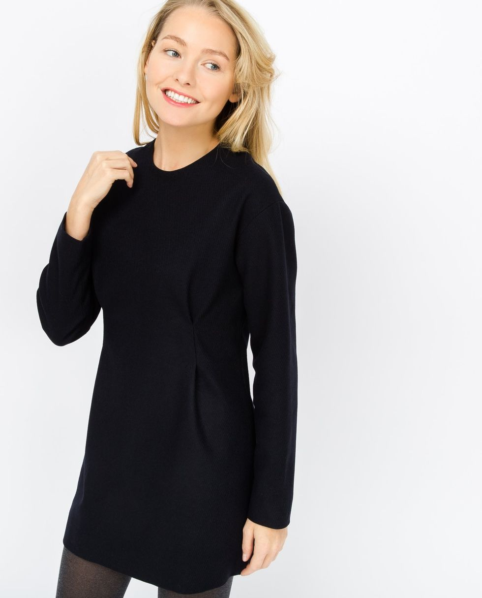 Платье мини из плотной шерсти SПлатья<br><br><br>Артикул: 8296890<br>Размер: S<br>Цвет: Темно-синий<br>Новинка: НЕТ<br>Наименование en: Wool blend mini dress