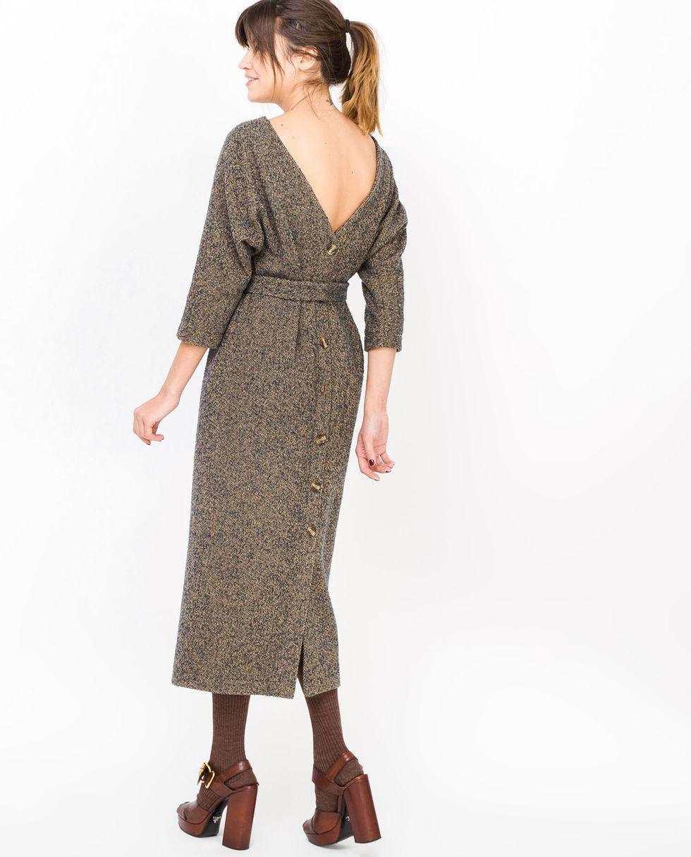 12Storeez Платье миди с вырезом  пуговицами сзади (меланж)