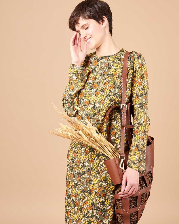 12Storeez Платье миди в мелкий цветок (зеленое)