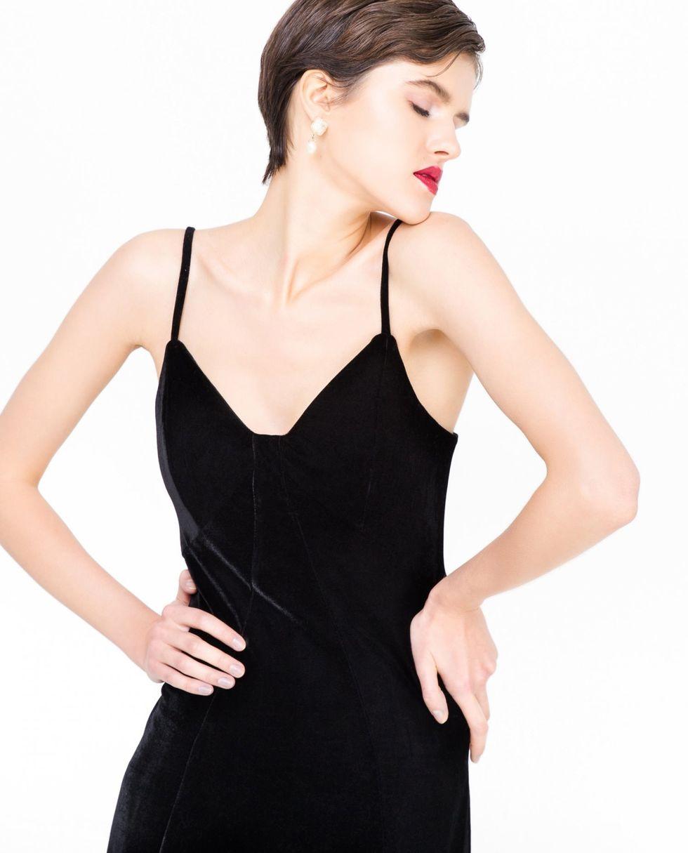 12Storeez Платье-комбинация из бархата (чёрное)