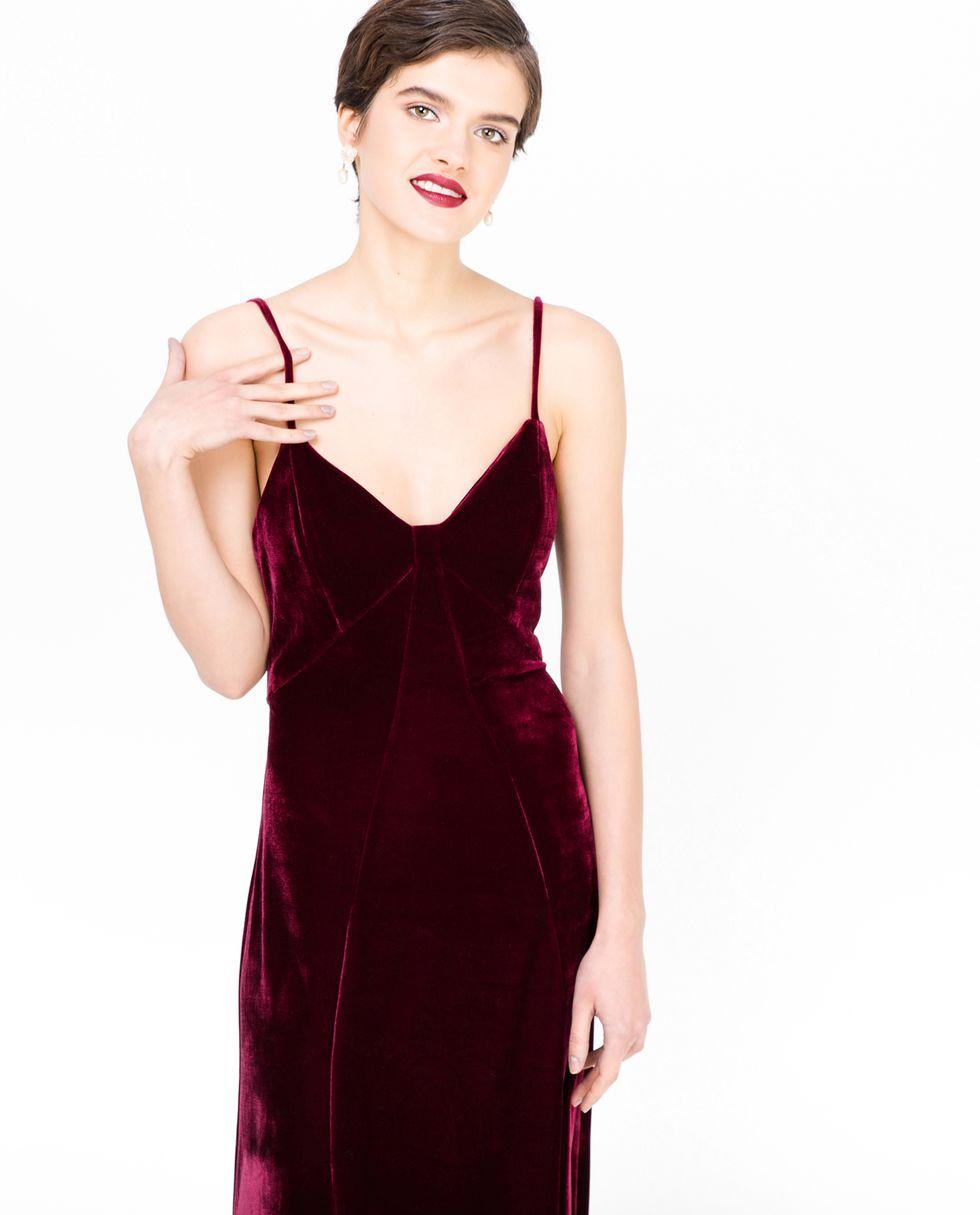 12Storeez Платье-комбинация из бархата (бордовое) 12storeez платье комбинация на одно плечо чёрный