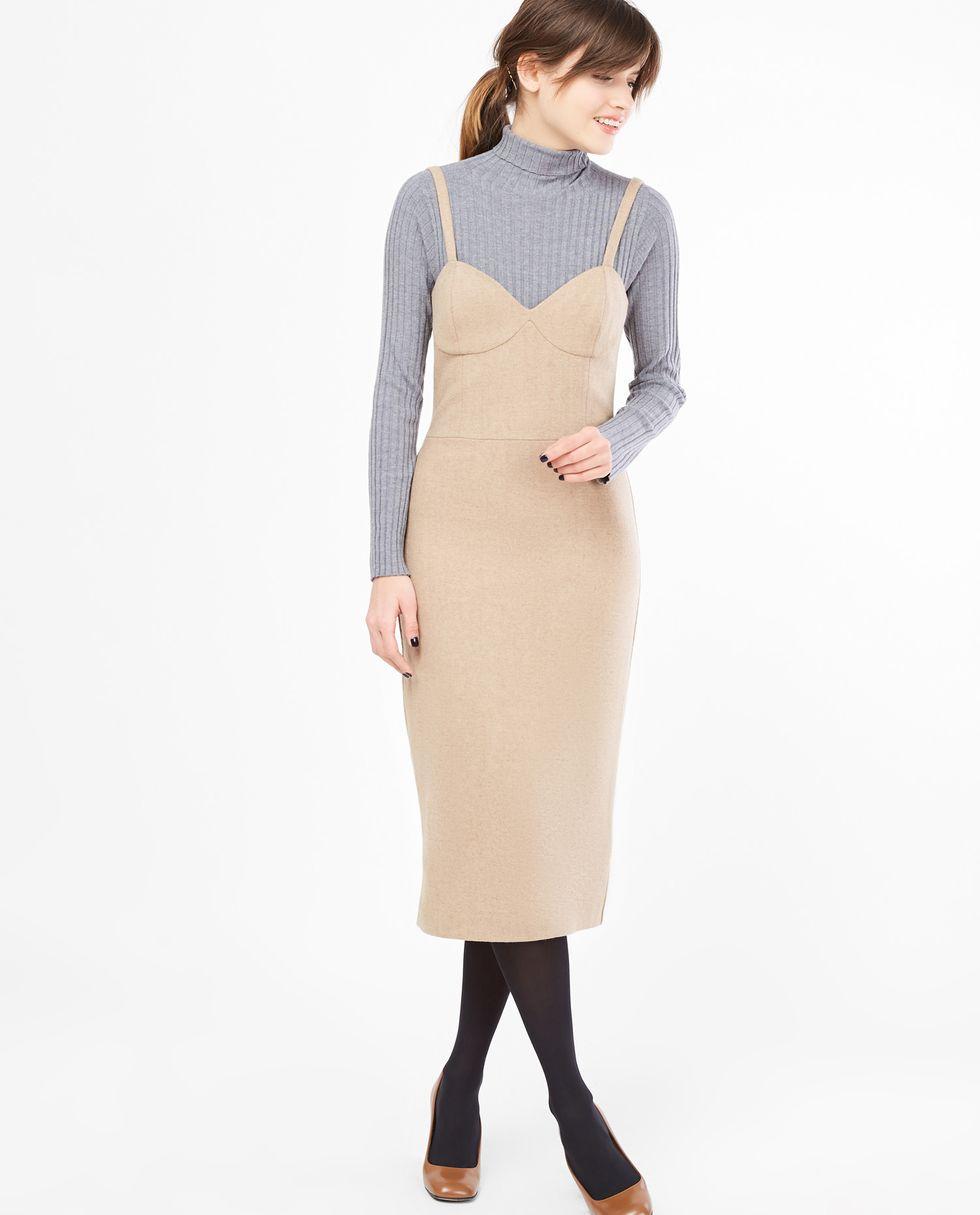 12Storeez Платье-комбинация на широких бретелях (песочное)
