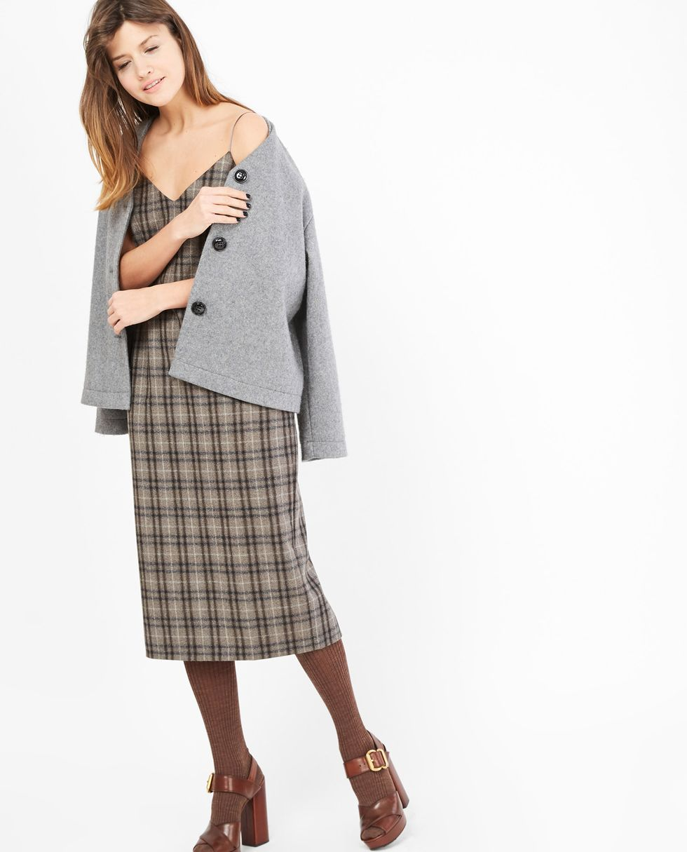12Storeez Платье-комбинация из шерсти в клетку (серое)
