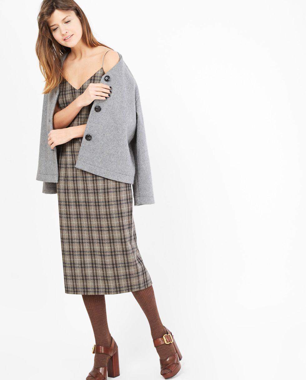 Платье-комбинация из шерсти в клетку XSПлатья<br><br><br>Артикул: 8297160<br>Размер: XS<br>Цвет: Серый<br>Новинка: НЕТ<br>Наименование en: Check print slip dress
