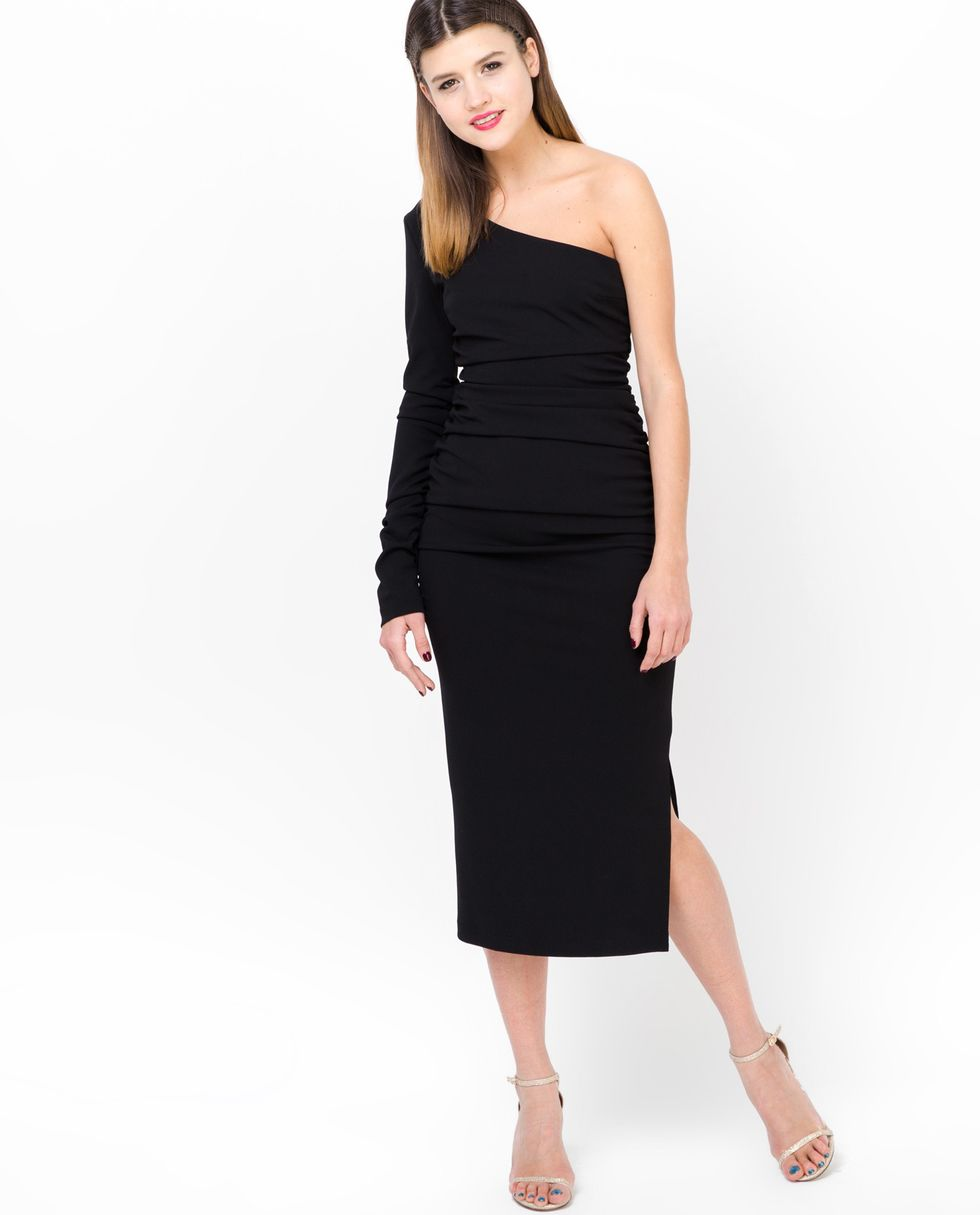 Платье с одним рукавом XSПлатья<br><br><br>Артикул: 8297188<br>Размер: XS<br>Цвет: Чёрный<br>Новинка: НЕТ<br>Наименование en: One shoulder dress