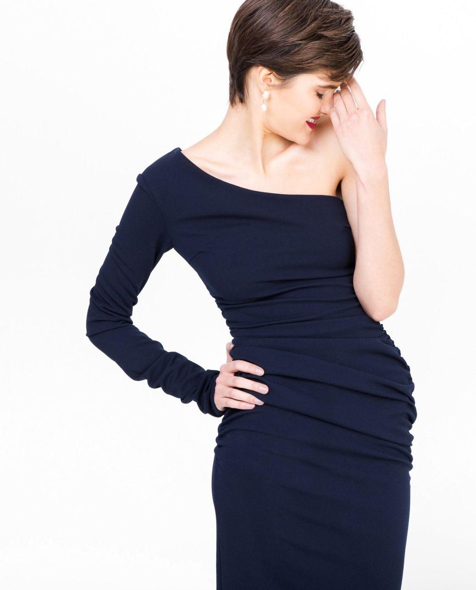 12Storeez Платье с одним рукавом (тёмно-синее)