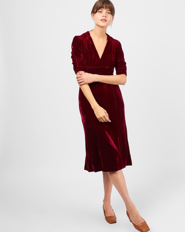 Платье миди из бархата с короткими рукавами S