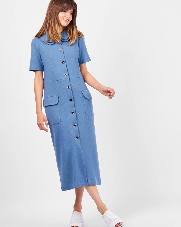 Платье с двойным воротником SПлатья<br><br><br>Артикул: 8297436<br>Размер: S<br>Цвет: Серо-голубой<br>Новинка: НЕТ<br>Наименование en: Double collar midi dress