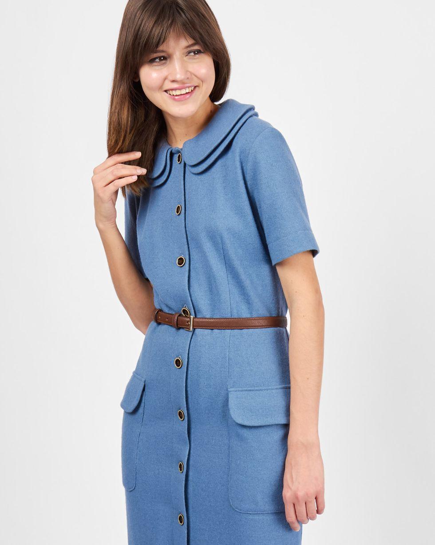 12Storeez Платье с двойным воротником (серо-голубое) голубое платье