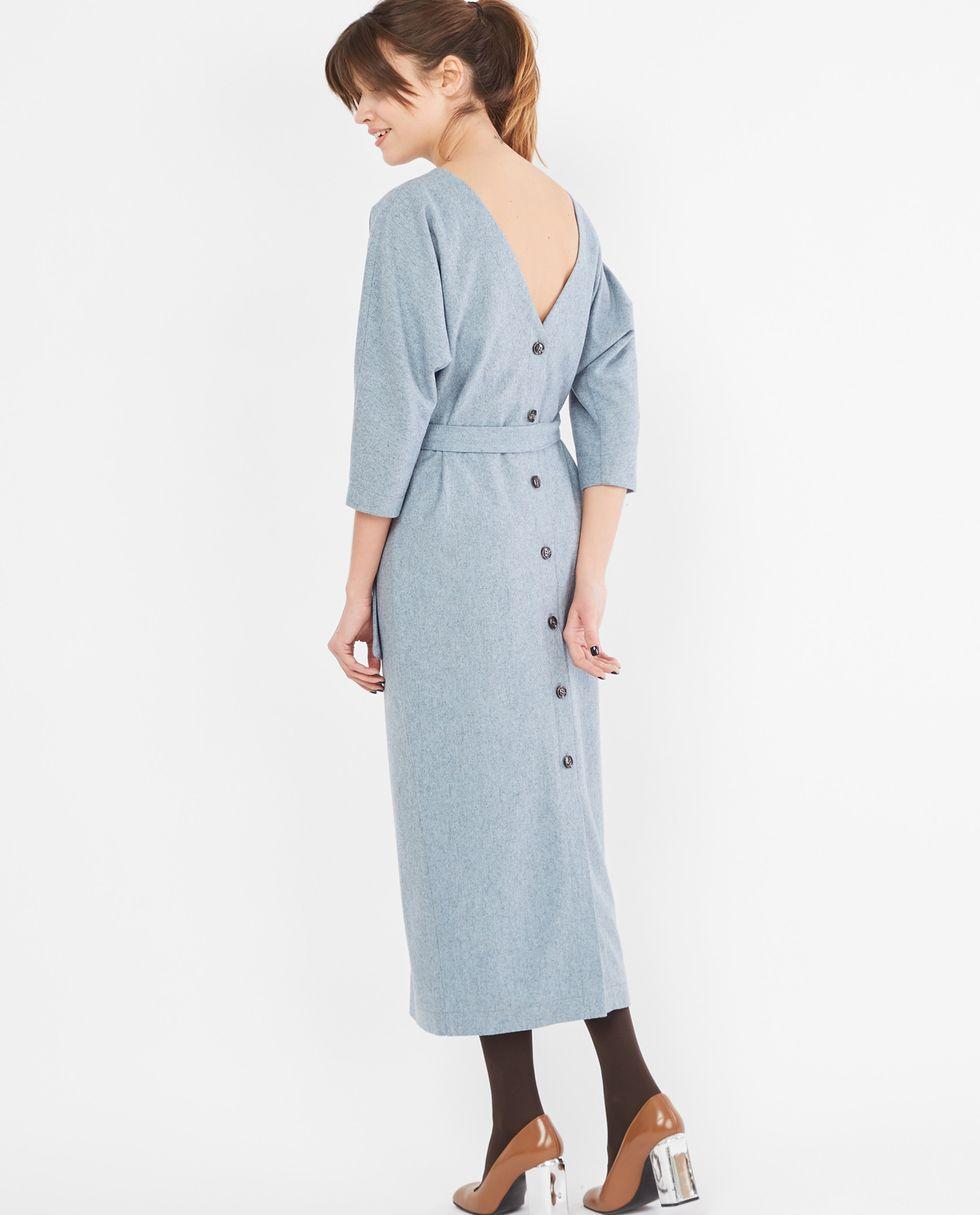 12Storeez Платье миди с вырезом и пуговицами сзади (серо-бирюзовое) 12storeez платье миди на поясе с карманами серо голубой
