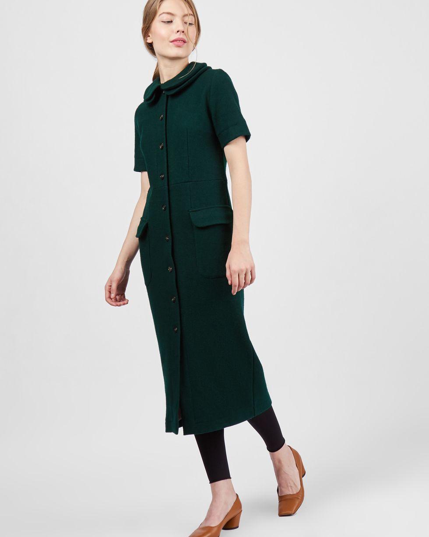 Платье с двойным воротником XSПлатья<br><br><br>Артикул: 8297500<br>Размер: XS<br>Цвет: Зеленый<br>Новинка: НЕТ<br>Наименование en: Double collar midi dress