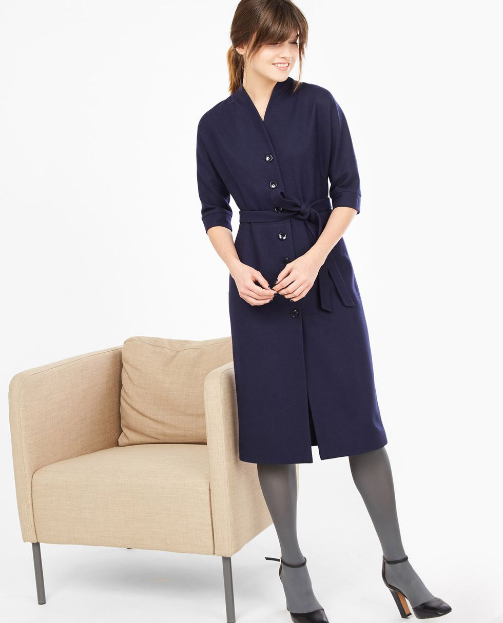 12Storeez Платье на пуговицах спереди (темно-синее)