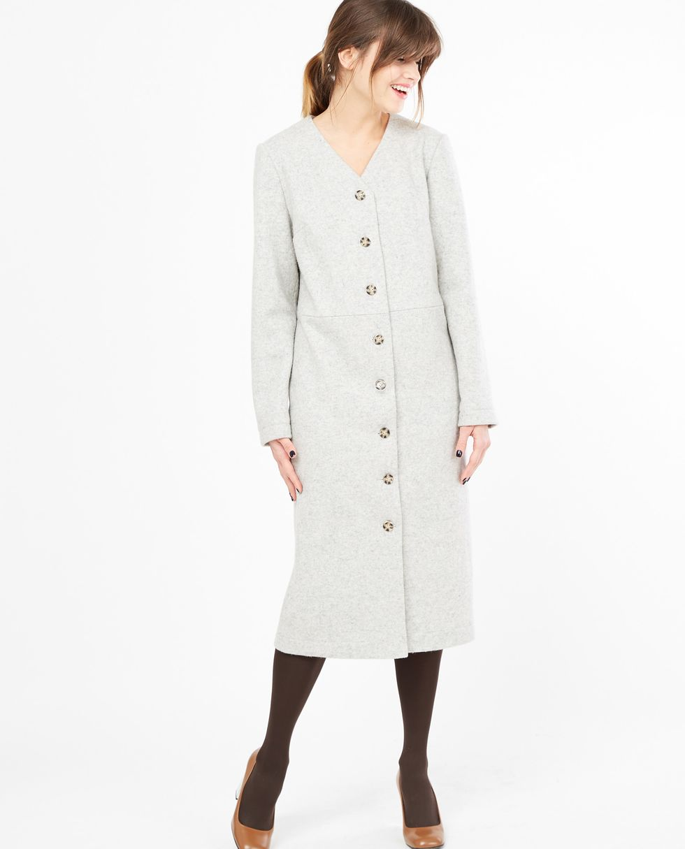 Платье-кардиган XSплатья<br><br><br>Артикул: 8297657<br>Размер: XS<br>Цвет: Светло-серый<br>Новинка: НЕТ<br>Наименование en: Button front long sleeve dress
