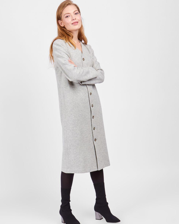 Платье-кардиган MПлатья<br><br><br>Артикул: 8297657<br>Размер: M<br>Цвет: Светло-серый<br>Новинка: НЕТ<br>Наименование en: Button front long sleeve dress