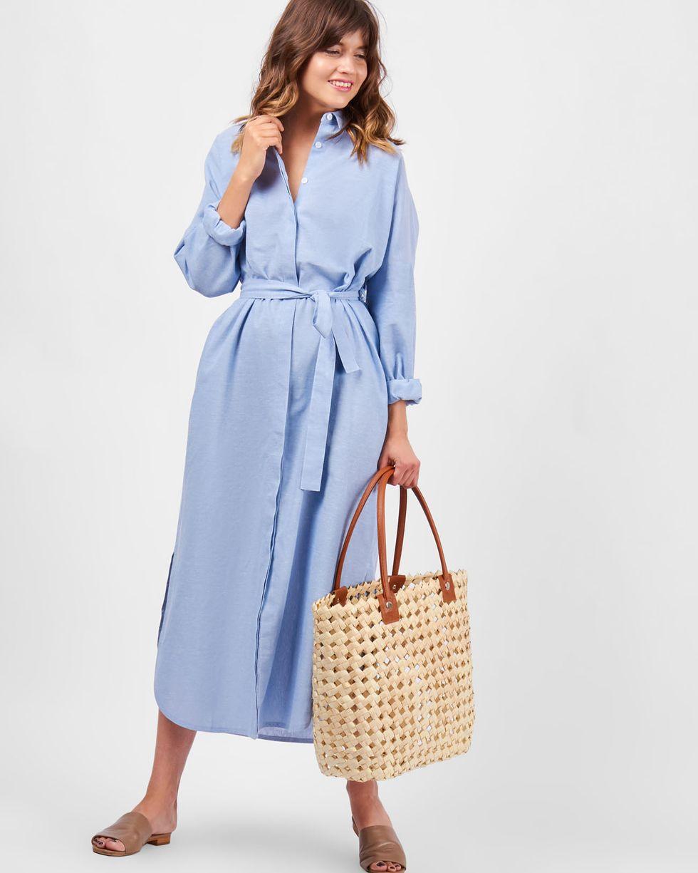 12Storeez Платье-рубашка на поясе изо льна (голубое) 12storeez рубашка в мужском стиле изо льна черный