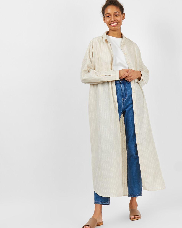 12Storeez Платье-рубашка на поясе изо льна (песочное) цена и фото