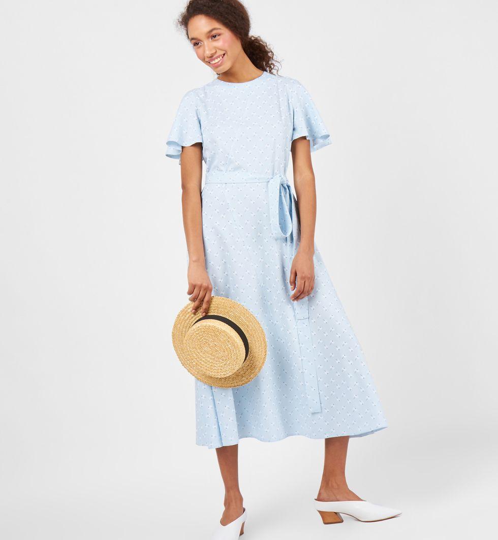 Платье миди с рукавами крылышки MПлатья<br><br><br>Артикул: 8298030<br>Размер: M<br>Цвет: Голубой<br>Новинка: НЕТ<br>Наименование en: Flutter sleeve midi dress