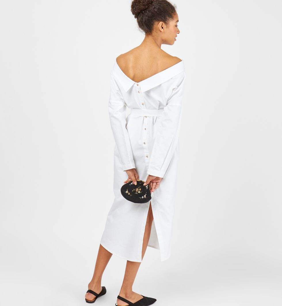 12Storeez Платье-рубашка на пуговицах (белое) perlitta perlitta платье белое