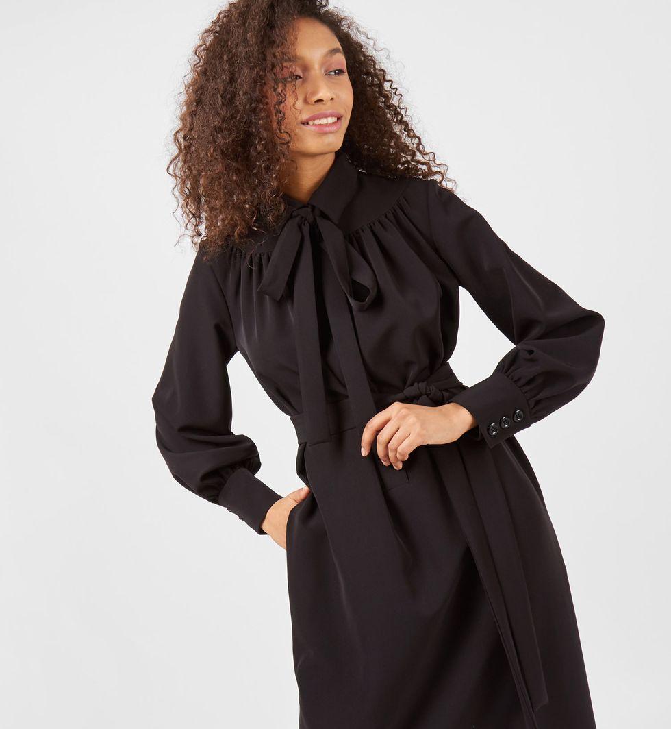 12Storeez Платье на поясе с бантом (черное) платье с бантом на талии