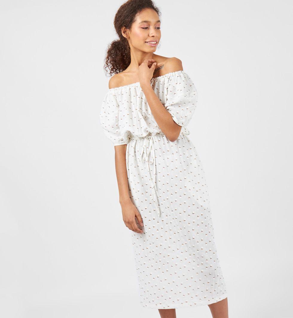 12Storeez Платье миди с рукавами фонарики (молочное)